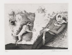 Gary Hansmann (American, born 1940). <em>Dawn of the Dogs</em>, 1979. Etching, aquatint, drypoint, Sheet: 11 x 12 7/8 in. (28 x 32.7 cm). Brooklyn Museum, Designated Purchase Fund, 80.28.2. © artist or artist's estate (Photo: Brooklyn Museum, 80.28.2_PS4.jpg)