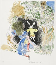Knox Martin (American, born 1923). <em>Alice and The Rabbit</em>, 1978. Drypoint with chine-collé on paper, sheet: 19 5/8 x 17 1/8 in. (49.8 x 43.5 cm). Brooklyn Museum, Gift of Hugh McKay, 80.50.7. © artist or artist's estate (Photo: Brooklyn Museum, 80.50.7_PS2.jpg)