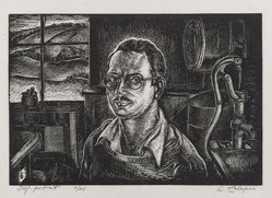 Letterio Calapai (American, 1902-1993). <em>Self Portrait</em>, 1946. Wood engraving, Image: 5 7/8 x 8 3/4 in. (15 x 22.2 cm). Brooklyn Museum, Designated Purchase Fund, 80.60.1. © artist or artist's estate (Photo: Brooklyn Museum, 80.60.1_PS4.jpg)
