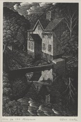 John DePol (American, 1913-2004). <em>Mill on the Aspetuck</em>, 1952. Wood engraving, Sheet: 8 5/8 x 6 9/16 in. (21.9 x 16.7 cm). Brooklyn Museum, Designated Purchase Fund, 80.60.2. © artist or artist's estate (Photo: Brooklyn Museum, 80.60.2_PS4.jpg)