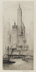 Albert Flanagan (American, 1886-1969). <em>Wall Street Group (Towers of Manhattan)</em>, 1931. Etching with drypoint on cream-colored laid paper, Sheet: 17 3/16 x 9 7/16 in. (43.7 x 24 cm). Brooklyn Museum, Gift of Ferdinand Eiseman, 80.83.10. © artist or artist's estate (Photo: Brooklyn Museum, 80.83.10_PS2.jpg)
