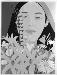 Alex Katz (American, born 1927). <em>Ada With Flowers</em>, 1981. Color screenprint, 48 x 36 in. (121.9 x 91.4 cm). Brooklyn Museum, Purchased with funds given by various donors in memory of Daniel I. Mincer, 81.162. © artist or artist's estate (Photo: Brooklyn Museum, 81.162_bw.jpg)