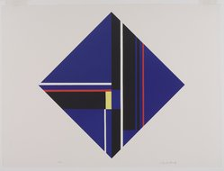 Ilya Bolotowsky (American, born Russia, 1907-1981). <em>Blue Diamond</em>, 1979. Serigraph on paper, Sheet: 19 15/16 x 19 15/16 in. (50.6 x 50.6 cm). Brooklyn Museum, Gift of R. Michael Heidenberg, 81.19.1. © artist or artist's estate (Photo: Brooklyn Museum, 81.19.1_PS9.jpg)