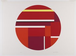 Ilya Bolotowsky (American, born Russia, 1907-1981). <em>Red Tondo</em>, 1979. Serigraph on paper, Sheet: 22 1/4 x 30 in. (56.5 x 76.2 cm). Brooklyn Museum, Gift of R. Michael Heidenberg, 81.19.2. © artist or artist's estate (Photo: Brooklyn Museum, 81.19.2_PS6.jpg)