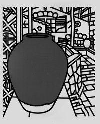 Patrick Caulfield (British, 1936-2005). <em>Jar</em>, n.d. Serigraph on wove paper, 34 1/2 x 27 15/16 in. (87.6 x 71 cm). Brooklyn Museum, Gift of James W. Dye, 81.224.6. © artist or artist's estate (Photo: Brooklyn Museum, 81.224.6_bw.jpg)