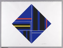 Ilya Bolotowsky (American, born Russia, 1907-1981). <em>Untitled</em>, 1979. Screenprint on paper, Diamond shaped: 22 1/8 x 22 1/8 in. (56.2 x 56.2 cm). Brooklyn Museum, Gift of Dr. and Mrs. Kenneth Lawrence, 81.237.1. © artist or artist's estate (Photo: Brooklyn Museum, 81.237.1_PS6.jpg)