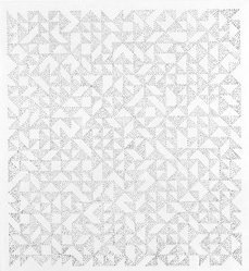Anni Albers (American, 1899-1994). <em>Triangulated Intaglios IV</em>, 1976. Etching, aquatint on paper, Sheet: 24 x 20 in. (61 x 50.8 cm). Brooklyn Museum, Gift of Studebaker-Worthington, Inc., 81.24.1. © artist or artist's estate (Photo: Brooklyn Museum, 81.24.1_bw.jpg)