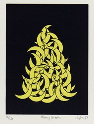 Patrick Hughes (British, born 1939). <em>Many Moons</em>, 1980. Silkscreen on wove paper, Image: 7 15/16 x 6 15/16 in. (20.2 x 17.6 cm). Brooklyn Museum, Gift of Mr. and Mrs. Ben Wunsch, 81.251.4. © artist or artist's estate (Photo: Brooklyn Museum, 81.251.4_PS4.jpg)