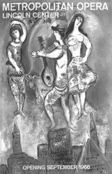 Marc Chagall (French, born Russia, 1887-1985). <em>Metropolitan Opera Poster</em>, 1966. Lithograph on buff wove paper, Image: 39 1/2 in., 65.5kg (100.3 x 65.5 cm). Brooklyn Museum, Gift of Dr. and Mrs. Theodore Kamholtz, 81.261.2. © artist or artist's estate (Photo: Brooklyn Museum, 81.261.2_bw.jpg)