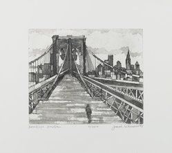 Jack Bilander (American, born Poland, 1919-2008). <em>Brooklyn Bridge</em>, 1981. Etching with aquatint on paper, Image: 9 15/16 x 11 7/8 in. (25.2 x 30.2 cm). Brooklyn Museum, Gift of the Community Committee of the Brooklyn Museum, 81.69.1. © artist or artist's estate (Photo: Brooklyn Museum, 81.69.1_PS1.jpg)