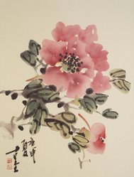 Sangyul Park (born 1923). <em>Screen of Flowers</em>, 1980. Ink and color on paper, overall each panel:  48 3/4 x 19 1/4 in.  (123.8 x 48.9 cm). Brooklyn Museum, Gift of Harold Glasser, 82.176. © artist or artist's estate (Photo: Brooklyn Museum, 82.176_peonies.jpg)