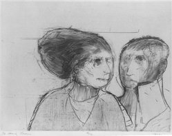 Robert Marx (American, born 1925). <em>The Family Lessing</em>, 1963. Etching and roulette on paper, sheet: 15 5/8 x 18 3/8 in. (39.7 x 46.7 cm). Brooklyn Museum, Gift of Mr. and Mrs. Sid Feinberg, 82.198.5. © artist or artist's estate (Photo: Brooklyn Museum, 82.198.5_bw.jpg)