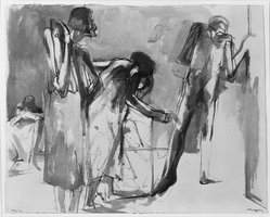 Michael Mazur (American, 1935-2009). <em>Study for Images From a Locked Ward</em>, 1967. Wash drawing, 15 5/8 x 19 1/2 in. (39.7 x 49.5 cm). Brooklyn Museum, Gift of Mr. and Mrs. Sid Feinberg, 82.198.6. © artist or artist's estate (Photo: Brooklyn Museum, 82.198.6_bw.jpg)