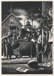 Stevan Dohanos (American, 1907-1994). <em>State Fair</em>, n.d. Wood engraving, Sheet: 17 3/8 x 13 in. (44.2 x 33 cm). Brooklyn Museum, Gift of Mr. and Mrs. Peter P. Pessutti, 82.204.3. © artist or artist's estate (Photo: Brooklyn Museum, 82.204.3_PS6.jpg)