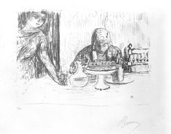 Pierre Bonnard (French, 1867-1947). <em>La Coupe et Le Compotier</em>, 1925. Lithograph, Sheet: 12 3/4 x 19 1/2 in.  (32.4 x 49.5 cm);. Brooklyn Museum, Gift of Dr. and Mrs. Theodore Kamholtz, 82.251.1. © artist or artist's estate (Photo: Brooklyn Museum, 82.251.1_bw.jpg)