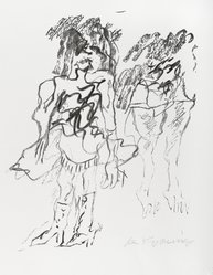 Willem de Kooning (American, born Holland, 1904-1997). <em>Two Figures</em>, 1973. Offset lithograph, Sheet: 18 x 15 in. (45.7 x 38.1 cm). Brooklyn Museum, Gift of Mr. and Mrs. Morton Ostrow, 82.253.1. © artist or artist's estate (Photo: Brooklyn Museum, 82.253.1_PS4.jpg)