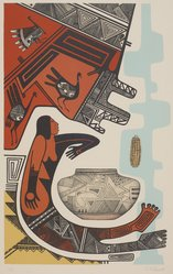 Charles Fredric Lovato (Kewa (Santo Domingo Pueblo), 1937-1987). <em>Of Beauty and Woman</em>, n.d. Lithograph on paper, 22 3/8 × 14 7/8 in. (56.8 × 37.8 cm). Brooklyn Museum, Gift of Martin Rotman, 82.255.21. © artist or artist's estate (Photo: , 82.255.21_PS11.jpg)