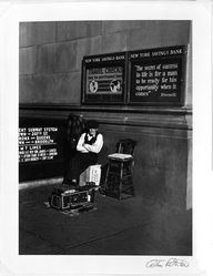 Arthur Rothstein (American, 1915-1985). <em>Shoeshine man, New York City</em>, 1937. Gelatin silver photograph Brooklyn Museum, Gift of Robert Smith, 82.256.16. © artist or artist's estate (Photo: Brooklyn Museum, 82.256.16_bw.jpg)
