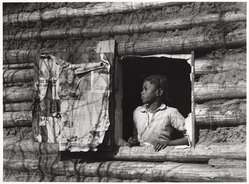 Arthur Rothstein (American, 1915-1985). <em>Girl at Gee's Bend, Alabama</em>, 1937. Gelatin silver photograph, Sheet: 10 15/16 x 14 in. (27.8 x 35.6 cm). Brooklyn Museum, Gift of Robert Smith, 82.256.2. © artist or artist's estate (Photo: Brooklyn Museum, 82.256.2_PS9.jpg)