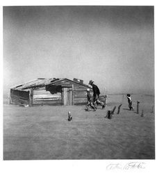 Arthur Rothstein (American, 1915-1985). <em>Dust storm, Cimarron County, Oklahoma</em>, 1936. Gelatin silver photograph, Sheet: 14 1/16 x 11 in. (35.7 x 27.9 cm). Brooklyn Museum, Gift of Robert Smith, 82.256.5. © artist or artist's estate (Photo: Brooklyn Museum, 82.256.5_bw.jpg)