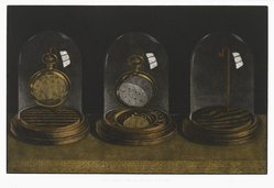 Byron Bratt (American, born 1952). <em>The Past, Present and Future</em>, 1980. Mezzotint and drypoint, hand-colored Brooklyn Museum, Gift in memory of Stephen S. Lindo, 82.40. © artist or artist's estate (Photo: Brooklyn Museum, 82.40_PS2.jpg)
