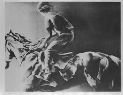 Marsha Feigin (American, born 1946). <em>Horse and Rider</em>, 1982. Aquatint in brown ink Brooklyn Museum, Gift of the Community Committee of the Brooklyn Museum, 82.90.1. © artist or artist's estate (Photo: Brooklyn Museum, 82.90.1_bw.jpg)