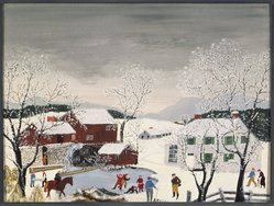 Anna Mary Robertson Moses (American, 1860-1961). <em>Early Skating</em>, 1951. Oil and tempera on Masonite, 17 15/16 x 24 in. (45.6 x 61 cm). Brooklyn Museum, Gift of the Estate of R. Thornton Wilson, 83.122.2. © artist or artist's estate (Photo: Brooklyn Museum, 83.122.2_SL1.jpg)