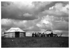 Eve Arnold (American, 1912-2012). <em>Inner Mongolia/Cowboy Dwellings</em>, 1979. Chromogenic photograph, image: 11 1/2 x 17 in. (29.2 x 43.2 cm). Brooklyn Museum, Gift of the artist in memory of Gene Baro, 83.128.4. © artist or artist's estate (Photo: Brooklyn Museum, 83.128.4_bw.jpg)