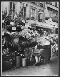 Paula Wright. <em>Flower Vendor, Paris</em>, 1961. Gelatin silver photograph, sheet: 20 x 16 in. Brooklyn Museum, Gift of the artist, 83.142.3. © artist or artist's estate (Photo: Brooklyn Museum, 83.142.3_PS2.jpg)