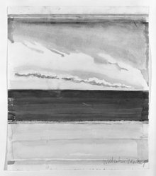 Malcolm Morley (American, born England, 1931-2018). <em>Seascape</em>. Watercolor over pencil on paper, 16 1/16 x 13 15/16 in. (40.8 x 35.4 cm). Brooklyn Museum, Gift of Dr. and Mrs. Leonard Kornblee, 83.198. © artist or artist's estate (Photo: Brooklyn Museum, 83.198_bw.jpg)