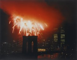 Mitchell Tapper (American, born 1958). <em>Fireworks over Brooklyn Bridge</em>, 1983. Silver dye bleach photograph (Cibachrome) Brooklyn Museum, Gift of the artist, 83.208. © artist or artist's estate (Photo: Brooklyn Museum, 83.208_PS1.jpg)