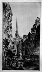 John Taylor Arms (American, 1887-1953). <em>Rue Sauton</em>, 1924. Etching Brooklyn Museum, Gift of Mr. and Mrs. Peter P. Pessutti, 83.220. © artist or artist's estate (Photo: Brooklyn Museum, 83.220_bw.jpg)