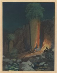 Urushibara Mokuchu (Japanese, 1888-1953). <em>The Ceremonial Cave</em>, 20th century. Color etching, 13 5/8 x 10 1/8 in. (34.6 x 25.7 cm). Brooklyn Museum, Gift of Mr. and Mrs. Peter P. Pessutti, 83.244.1. © artist or artist's estate (Photo: Brooklyn Museum, 83.244.1_IMLS_PS3.jpg)