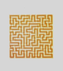 Anni Albers (American, 1899-1994). <em>Orange Meander</em>, 1970. Serigraph on paper, Image: 16 1/2 x 16 1/2 in. (41.9 x 41.9 cm). Brooklyn Museum, Gift of the artist, 83.34. © artist or artist's estate (Photo: Brooklyn Museum, 83.34_transpc003.jpg)