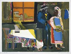 Romare Bearden (American, 1911-1988). <em>Autumn of the Rooster</em>, 1983. Lithograph in color Brooklyn Museum, Gift of the Community Committee of the Brooklyn Museum, 83.74. © artist or artist's estate (Photo: Brooklyn Museum, 83.74_SL1.jpg)