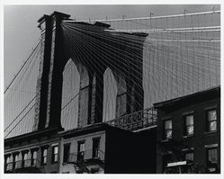 Donald Burns (American, 1919-1989). <em>Brooklyn Bridge</em>, 1981. Gelatin silver photograph, image: 15 1/4 x 19 1/2 in. (38.7 x 49.5 cm). Brooklyn Museum, Gift of the artist, 83.7. © artist or artist's estate (Photo: Brooklyn Museum, 83.7_PS1.jpg)