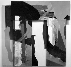 Alexander Liberman (Russian, 1912-1999). <em>Vrata V</em>, 1983. Acrylic and collage on canvas, 88 5/8 x 55 5/8 in. (225.1 x 141.3 cm). Brooklyn Museum, Gift of Cleve Gray, 84.146. © artist or artist's estate (Photo: Brooklyn Museum, 84.146_bw.jpg)