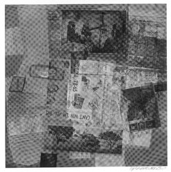 Robert Rauschenberg (American, 1925-2008). <em>Surface Series #50</em>, 1970. Hand-printed screenprint on paper, 35 x 35 in. (88.9 x 88.9 cm). Brooklyn Museum, Gift of Mr. and Mrs. Dennis Berman, 84.151.5. © artist or artist's estate (Photo: Brooklyn Museum, 84.151.5_bw.jpg)