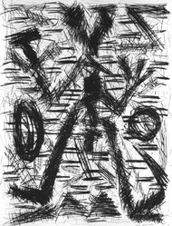 A.R. Penck (German, born 1939). <em>Untitled</em>, 1984. Drypoint etching on paper, sheet (image): 32 3/4 x 25 in. (83.2 x 63.5 cm). Brooklyn Museum, Designated Purchase Fund, 84.165. © artist or artist's estate (Photo: Brooklyn Museum, 84.165_bw.jpg)