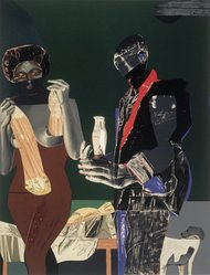 Romare Bearden (American, 1911-1988). <em>Before the First Whistle</em>, 1973. Screenprint on white wove paper Brooklyn Museum, Gift of Dr. Samuel S. Mandel, 84.230.2. © artist or artist's estate (Photo: Brooklyn Museum, 84.230.2_transpc001.jpg)