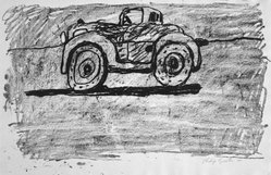 Philip Guston (American, born Canada, 1913-1980). <em>Car</em>, 1980. Lithograph on soft, handmade, white paper, Sheet: 20 1/16 x 30 3/8 in. (51 x 77.1 cm). Brooklyn Museum, Gift of Mr. and Mrs. David McKee, 84.233.1. © artist or artist's estate (Photo: Brooklyn Museum, 84.233.1_bw.jpg)