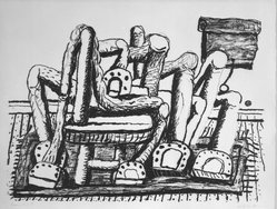 Philip Guston (American, born Canada, 1913-1980). <em>Room</em>, 1980. Lithograph on white wove paper, Sheet: 32 11/16 x 39 15/16 in. (83 x 101.5 cm). Brooklyn Museum, Gift of Mr. and Mrs. David McKee, 84.233.2. © artist or artist's estate (Photo: Brooklyn Museum, 84.233.2_bw.jpg)
