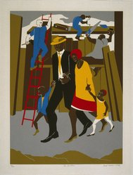 Jacob Lawrence (American, 1917-2000). <em>The Builders</em>, 1974. Screenprint, Sheet: 34 x 25 3/4 in. (86.4 x 65.4 cm). Brooklyn Museum, Gift of Helen and Monte Getler, 84.23. © artist or artist's estate (Photo: Brooklyn Museum, 84.23_SL1.jpg)