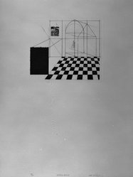 Molly Renda. <em>Dream House</em>, 1983. Intaglio on paper, sheet: 20 1/8 x 15 1/16 in. (51.1 x 38.3 cm). Brooklyn Museum, Gift of the Printmaking Workshop in honor of Una E. Johnson, 84.307.11. © artist or artist's estate (Photo: Brooklyn Museum, 84.307.11_bw.jpg)