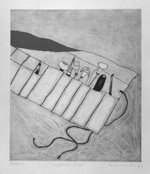 Pauline Kinahan. <em>Engraver's Purse</em>, 1983. Color intaglio, Sheet: 20 1/8 x 15 1/16 in. (51.1 x 38.3 cm). Brooklyn Museum, Gift of the Printmaking Workshop in honor of Una E. Johnson, 84.307.7. © artist or artist's estate (Photo: Brooklyn Museum, 84.307.7_bw.jpg)