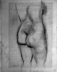 William Zorach (American, born Lithuania, 1887-1966). <em>Nude Torso</em>, ca. 1930. Graphite or charcoal on paper, Sheet: 23 1/2 x 18 1/2 in. (59.7 x 47 cm). Brooklyn Museum, Gift of the collection of the Zorach children, 84.45.1. © artist or artist's estate (Photo: Brooklyn Museum, 84.45.1_bw.jpg)