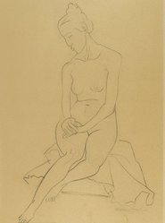William Zorach (American, born Lithuania, 1887-1966). <em>Seated Nude</em>, 1930. Graphite on beige, medium-weight, moderately textured wove paper, Sight: 22 7/8 x 16 3/4 in. (58.1 x 42.5 cm). Brooklyn Museum, Gift of the collection of the Zorach children, 84.45.2. © artist or artist's estate (Photo: Brooklyn Museum, 84.45.2_PS4.jpg)