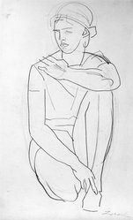 William Zorach (American, born Lithuania, 1887-1966). <em>Kneeling Woman</em>, ca. 1930. Graphite on paper, Sheet: 17 3/16 x 10 3/8 in. (43.7 x 26.4 cm). Brooklyn Museum, Gift of William Bloom, 84.46.15. © artist or artist's estate (Photo: Brooklyn Museum, 84.46.15_bw.jpg)