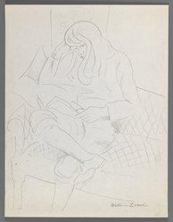 William Zorach (American, born Lithuania, 1887-1966). <em>Dahlov Reading</em>, ca. 1930. Graphite on cream, thin, slightly textured wove paper, Sheet: 11 1/16 x 8 1/2 in. (28.1 x 21.6 cm). Brooklyn Museum, Gift of William Bloom, 84.46.21. © artist or artist's estate (Photo: Brooklyn Museum, 84.46.21_IMLS_PS3.jpg)