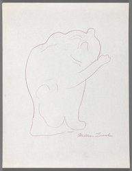 William Zorach (American, born Lithuania, 1887-1966). <em>Cat Washing Its Paws</em>, ca. 1936. Red pencil on paper, Sheet: 11 x 8 1/2 in. (27.9 x 21.6 cm). Brooklyn Museum, Gift of William Bloom, 84.46.9. © artist or artist's estate (Photo: Brooklyn Museum, 84.46.9_IMLS_PS3.jpg)